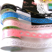Wholesale New latest DIY korean cutout fashion lovely lace trimming adhesive stationary tape