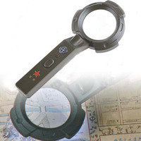 Wholesale Army Style LED Illuminated mm x Magnifier Magnifying Glass Loupe Torch Compass HUI