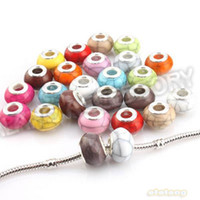 Wholesale 12Mixed Color Round Crack Pattern Acrylic Big Hole Beads Charms for Pandora Jewelry