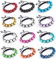 Wholesale 24pcs Mix color resin crystal beads bracelet with magnetic hematite macrame fashion jewelry