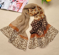 Wholesale New Big Dot Leopard Scarf Scarves New Style Position Printed Wrap Chiffon Scarf Mixed Colors