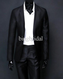 Wholesale Handsome Solid Mercerized Cotton Groom Wear Pants Suit