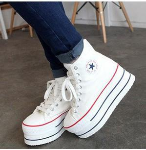 Increased Platform Heels Canvas Ankle Boots 7cm Canvas Sneakers