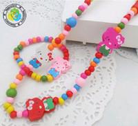 Bracelet & Necklace Bohemian Children's Free shipping hot children multicolour wood beads necklace bracelet princess jewelry set 10pcs lot
