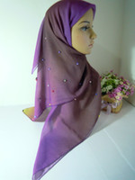 scarf material - mu135 Fashion New Design voile Material Square Scarf With Beaded Shawl Muslim Hijabs Fast Delivery