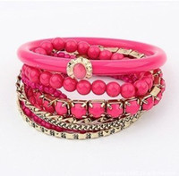 Wholesale Bangle Bracelet Multilayer Resin Alloy Gemstone Womens Charm Bracelets Jewellery