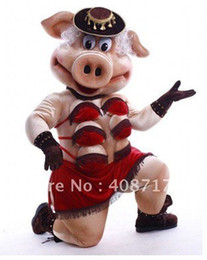 Wholesale Puppets Striptease Strip Pig Swinish Mascot Costumes Adult Halloween Cartoon Xmas Birthday Party Outfits