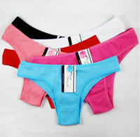 women thongs - New Arrival Girls Women Cotton Pure Color Bikini Thongs Sexy Pretty Mixed Colors Size High Quality