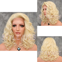 Wholesale Medium Heat Safe French Lace Front Wavy Curly Wig Light Pale Blonde lace front wig