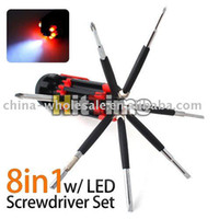Wholesale 8 in Multi Portable Screwdriver Tools Set w LED Torch