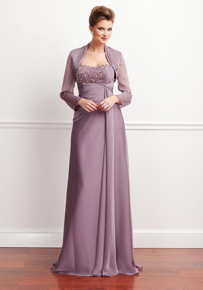 Strapless Full-length Light Purple Chiffon Long Sleeve Mother of ...