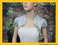 Wholesale 2013 Hot Sales Silver Short Sleeves Wedding Dress Satin Bolero Jacket Bridal Shrug Stores Online