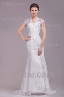 Wholesale Hot Mermaid Court Train V neck Lace Applique Vintage Short Sleeves Customed Garden Weddingdresses