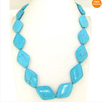 Wholesale Charm Necklace Single x28mm Blue Turquoise Gemstone Loose Beads Knotted Jewelry