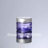 Wholesale 50G transparent purple glass cream jar cosmetic container cream jar Cosmetic Jar glass bottle