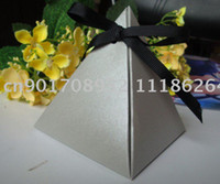 Favor Boxes Silver metallic paper FREE SHIPPING- Silver Pyramid Wedding Favor Box (XY-395c)