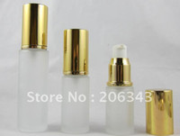Cheap 30ml frosted glass lotion bottle with shiny gold press pump and golden cap