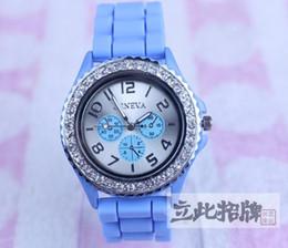 Geneva Unisex Men Women's Geneva Diamond Watch Jelly Rubber Stone Silicone Crystal Watches 5pcs  Lot