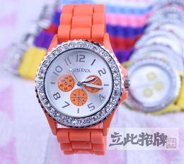 Bling bling diamond watch silicone band men women fashionable wrist watch Quartz Watches (11colors)