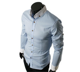 Wholesale 2013 men s clothing the casual shirt fashion men s designer dress shirts color black bule gray