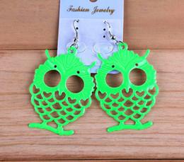 Wholesale New Arrival Owl Earrings For Women Fashion Light Green Metal Earrings PARS