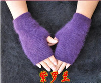 Wholesale Lady s Wool Fingerless Gloves Women Winter Computer Half finger Gloves Mixed color pairs