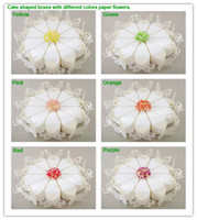 Wholesale DIY Wedding Favor box candy box with paper flower Cake shaped Small Size LWB0049CF3 ivory1