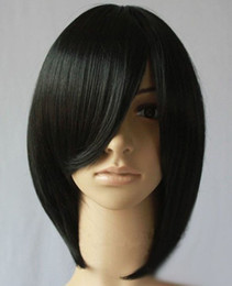 Wholesale 2012 Fashion Short Synthetic Lace Front Wig Black with Bang