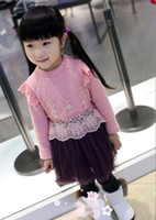 TuTu Winter Pleated Girls Lace Yarn Skirts Long Sleeved Dress Tiered Skirts Princess Dress Shirt Dress Children Clothes
