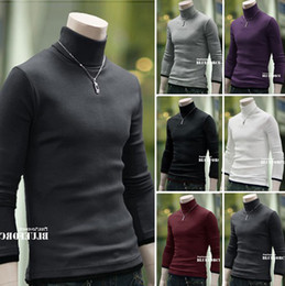 Wholesale Men s Casual Turtleneck Long Sleeve T shirt Knitting Shirt Men s Slim T shirts