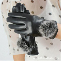 Wholesale Lady Elegant Fuzzy Detail Faux Leather Glove Faux Fur Lining Black Purple PGE