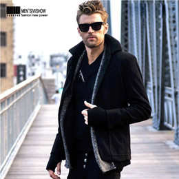 Wholesale Mens Middle Length Winter Wind Coat Suit Outerwear Thicken Slim Fit Irregular Splicing