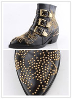 Wholesale Retro Pattern Rivet Metal Buckle Pointed Boots WDS100002