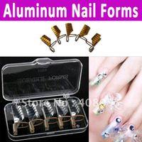 Wholesale AA702 pack nail protector Reusable Dual Silver Gold Nail Form For Nail Art Making Frenc