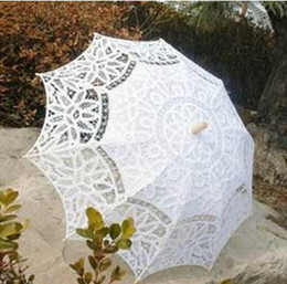 Wholesale Beautiful White Lace Wedding Bridal Umbrella UV Filter