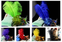 Wholesale Masquerade Masked Ball Mask Masks Performances Party Dance High grade Painting Feather Peacock Masks