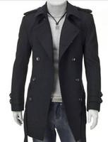 Men leather trench coat - trench coat Fall winter men fashion woolen medium long double breast overcoat