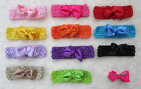 elastic crochet - 120pcs new style ribbon bows clip on crochet headbands hairbands crocheted elastic pink