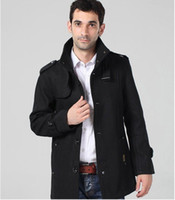 Cotton leather trench coat - mens long trench coat wool overcoat men wool coat winter high quality office outerwea