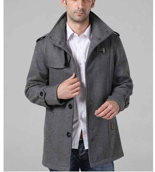 Free shipping mens long trench coat wool overcoat men wool coat winter high quality office outerwea