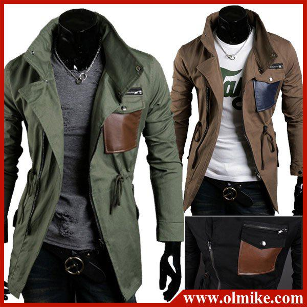 Trench Coat Men's Long Coat High-Quality Blend Shoulder Trench ...