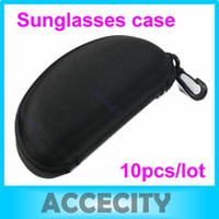 Wholesale 10pcs Glasses Eyeglasses Sunglass Zipper Hard Case Eyewear Box Bags Pouch with plastic carabine