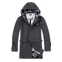 Wholesale trench coat NEW MEN WOOL WINTER COAT TRENCH ZA COAT LONG OVERCOAT OUTWEAR Black or Gr