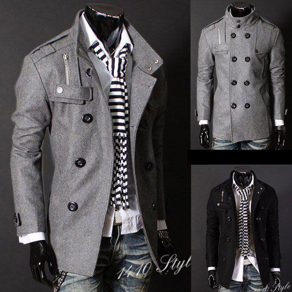 Black/Grey Men's Wool Coat Double Breasted Shoulder Epaulets Long ...