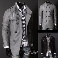 Wholesale Black Grey Men s Wool Coat Double Breasted Shoulder Epaulets Long Trench Coats Dropshi