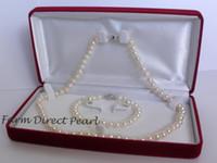 Wholesale Fine Pearl Jewelry Genuine AAA Akoya mm White Pearl Necklace Earrings Bracelet SET
