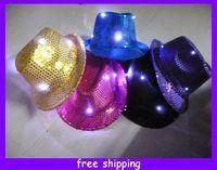 Wholesale NEW Fedora LED Light Up Blinking Flashing Sequin Hat