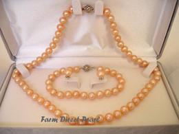 "Fine Pearl Jewelry Genuine ROUND 8-9mm Peach Pearl Necklace 3pc SET 20"""