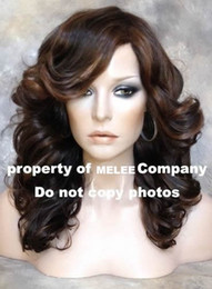 Wholesale Middle Wig Full Flowy Loose Body Wavy amp Bangs Wig Wigs in Light Brown Coffee Lady Wig Newest