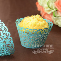 Wholesale Mixed color Candy box Laser cutting Cupcake wrappers DGW06D Cake cup wedding favors amp gift